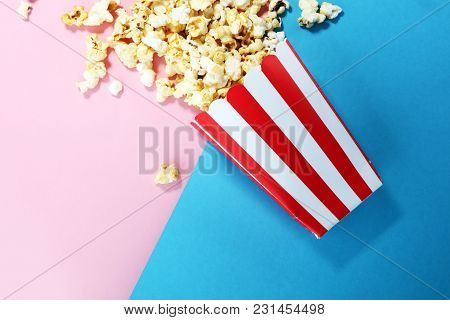 Salt Popcorn Or Sweet Popcorn Flat Lay On Colored Paper.
