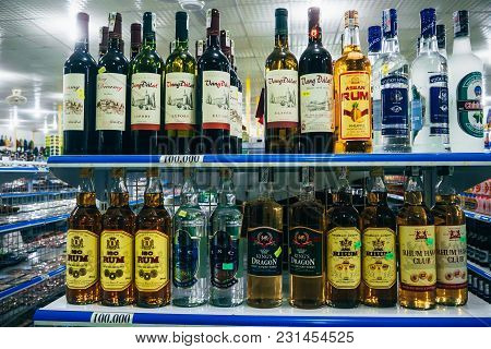 Mui Ne, Vietnam - March 3, 2017: Shelves With Alcohol In The Store. Vietnamese Rum, Wine And Vodka I
