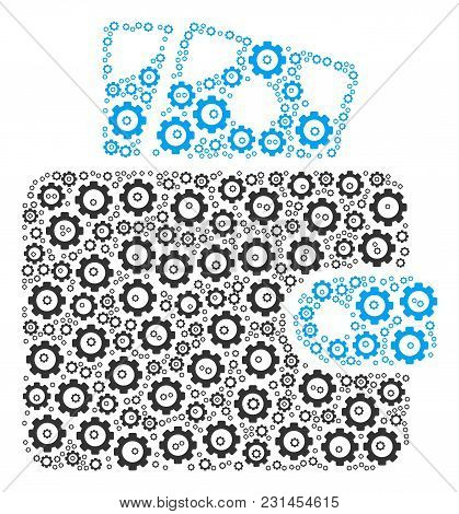 Wallet Composition Of Gears. Vector Gearwheel Elements Are Composed Into Wallet Collage.