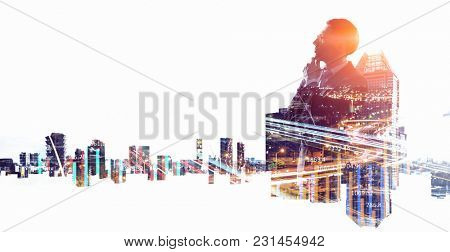 Businessman in big city