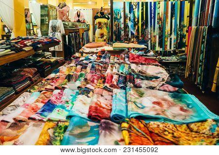 Mui Ne, Vietnam - March 3, 2017: Silk Scarves In The Shop In Mui Ne, Vietnam