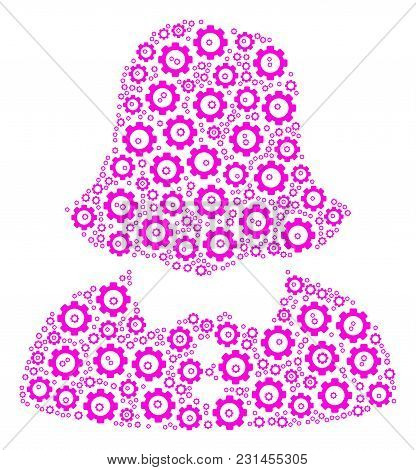 Woman Collage Of Cog Wheels. Vector Cog Wheel Objects Are United Into Woman Illustration.