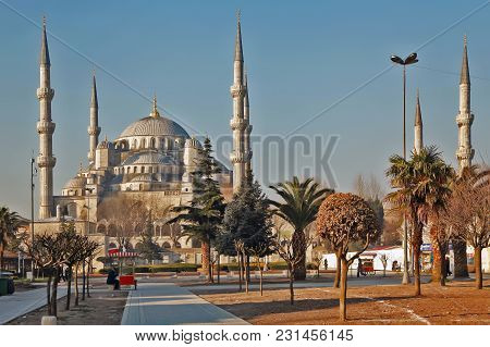 Istanbul, Turkey - March 24, 2012: The Blue Mosque In Morning Light.