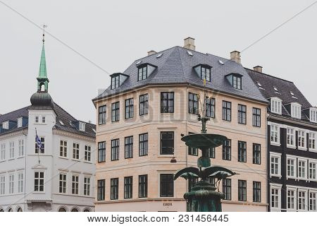 Copenhagen, Denmark - March 11th, 2018: Architecture And Details Of Stroget The Main Shopping Street