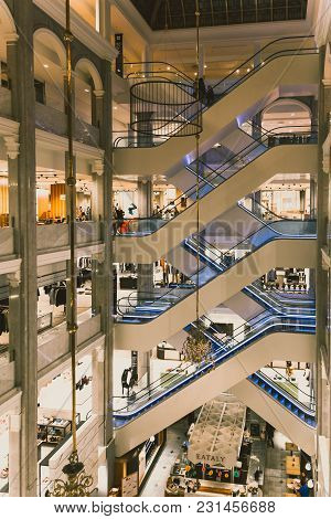 Copenhagen, Denmark - March 11th, 2018: Architecture And Details Of The Interior Of The Illum Depart