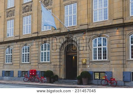 Copenhagen, Denmark - March 11th, 2018: Architecture And Details Of The Nobis Hotel In Copenhagen Ci
