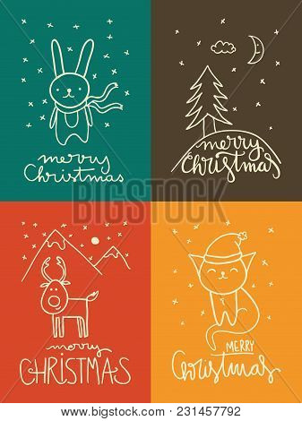 Set Of Four Christmas Cards With Simple Childish Drawings And Handlettering.