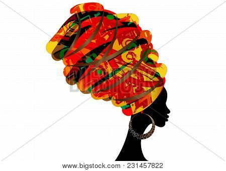Portrait Beautiful African Woman In Traditional Turban, Kente Head Wrap African, Dashiki Printing, B