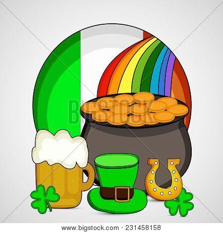 Illustration Of Leprechaun Hat, Beer Mug, Shamrock Leaf, Horseshoe And Gold Coins Pot On Ireland Fla