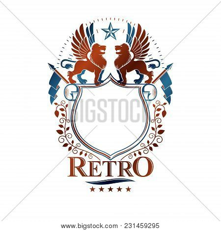 Graphic Retro Emblem Created With Brave Lion King, Blank Copy-space And Pentagonal Stars. Heraldic C