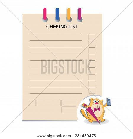 CHEK LIST and the cat with a smartphone. Design for messages, business information, business notes, tests, a list of calls, business meetings.