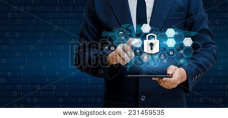 Unlocked Smartphone Lock Internet Phone Hand Businesspeople Press The Phone To Communicate In The In