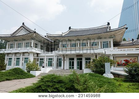 Pyongyang, North Korea - July 29, 2014: Pyongyang Embroidery Institute