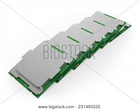 Modern Computer Core Processing Unit (CPU) Row Isolated on White Background. 3D Illustration.