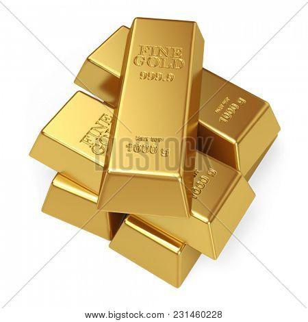 Stack of Gold Bars Isolated on White Background. Gold Bullion Concept Image. 3D Illustration.