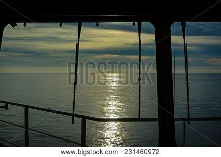 Ocean View Through Navigation Bridge Windows On Super Tanker