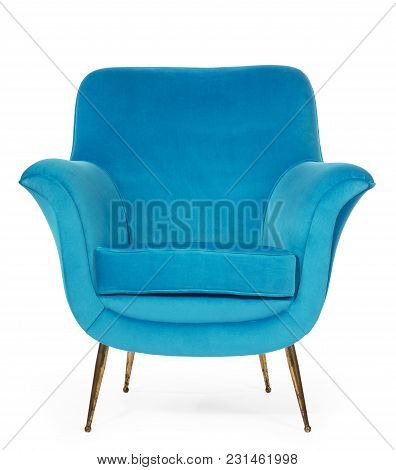 Old Antique Sixties Retro Arm Chair In Blue Upholstery