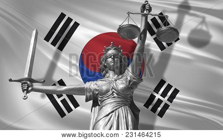 Cover About Law. Statue Of God Of Justice Themis With Flag Of South Korea Background. Original Statu