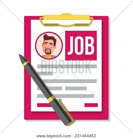 Form Job Application Vector. Business Document. Resume, Career. Hr Human Resources Concept. Male Pro