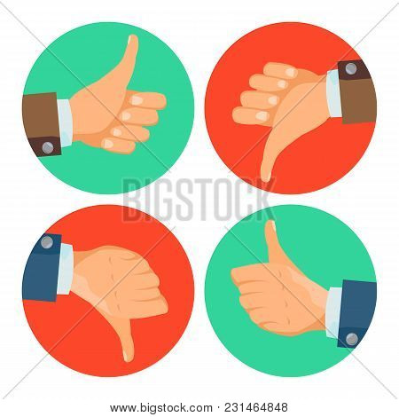 Dislike, Like Hands Vector. Thumbs Up, Thumbs Down Icons. Social Network Symbol. Flat Cartoon Illust