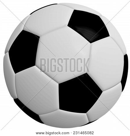 Black And White Soccer Ball Or Football, 3 D Illustration, White Background