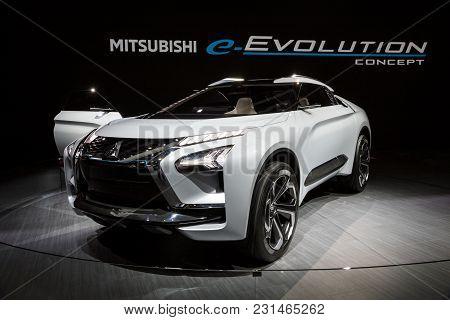 Geneva, Switzerland - March 7, 2018: Mitsubishi E-volution Concept Car Presented At The 88th Geneva