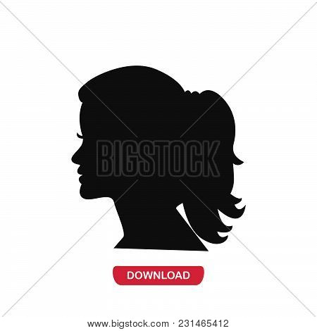 Woman Head Icon Vector In Modern Flat Style For Web, Graphic And Mobile Design. Woman Head Icon Vect