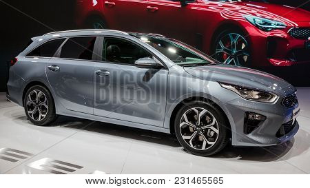 Geneva, Switzerland - March 7, 2018: New Kia Ceed Carpresented At The 88th Geneva International Moto