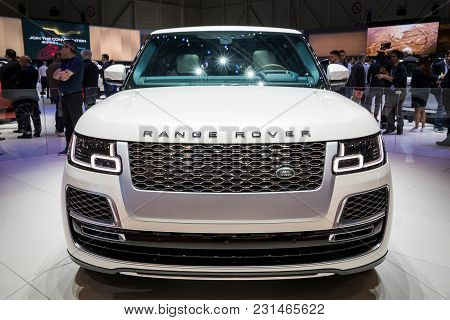 Geneva, Switzerland - March 7, 2018: New Range Rover Sv Coupe Suv Car Unveiled At The 88th Geneva In