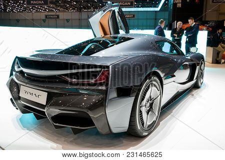 Geneva, Switzerland - March 7, 2018: Rimac C Two Electric Hypercar Presented At The 88th Geneva Inte