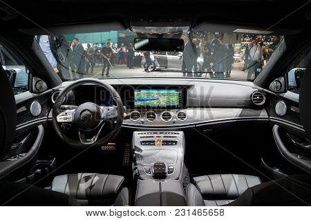Geneva, Switzerland - March 7, 2018: Interior Of The New Mercedes Benz E300 Diesel Hybrid Car Presen