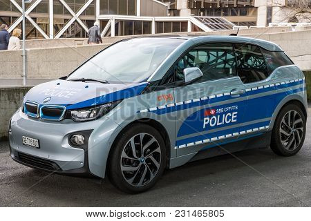 Geneva, Switzerland - March 7, 2018: Electic Bmw I1 Swiss Transport Police Car At The Geneva Airport
