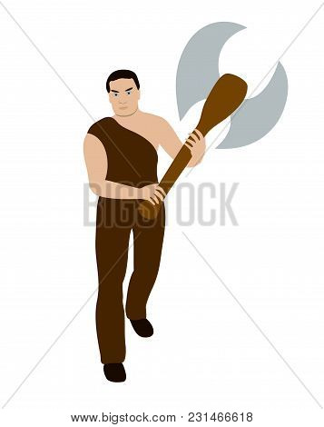 Vector Illustration, Flat Cartoon Man Warrior With Big Battle Axe In His Hands Isolated On White Bac