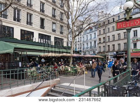 Paris, France-march 11, 2018: The Cafe Le Bastille Situated In A Busy Corner Of The Place De La Bast