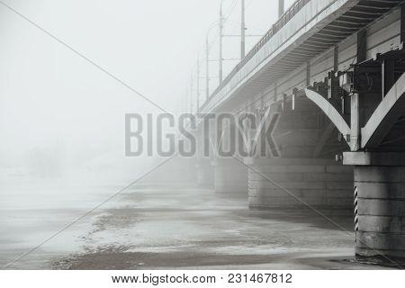 Winter Fog In Voronezh. Chernavsky Bridge Fading In Fog.