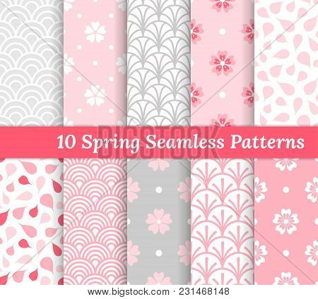 Ten Spring Seamless Patterns. Pink And Gray Romantic Backgrounds. Endless Texture For Wallpaper, Web