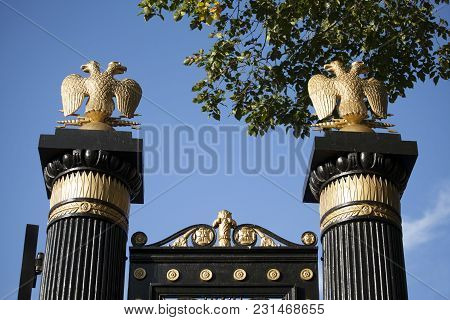 Gates With Golden Double-headed Eagle On Red Square In Moscow