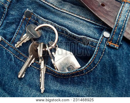 House Or Apartment Keys In The Jeans Pocket