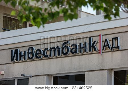 Pomorie, Bulgaria - August 18, 2017: The Office Of One Of The Top Banks In Bulgaria - Investbank.