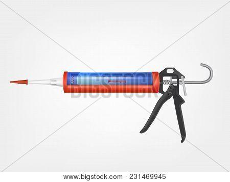 Vector 3d Realistic Caulking Gun, Metallic Bottle With Construction Foam, Sealing Adhesive, Pu-foam,
