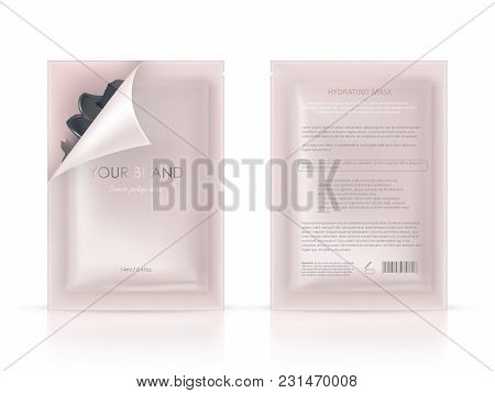 Vector Realistic Blank Package, Disposable Foil Sachet, Open And Closed, For Facial Mask Or Shampoo