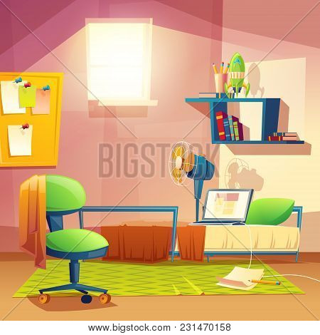 Vector Student Small Room, Cartoon Bedroom, Dormitory With Furniture. Cozy Apartment With Bed, Lapto