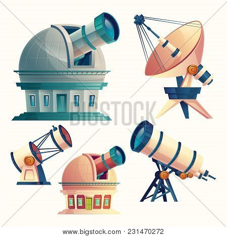 Vector Cartoon Set With Astronomical Telescopes, Observatories, Planetarium, Satellite Dish. Scienti