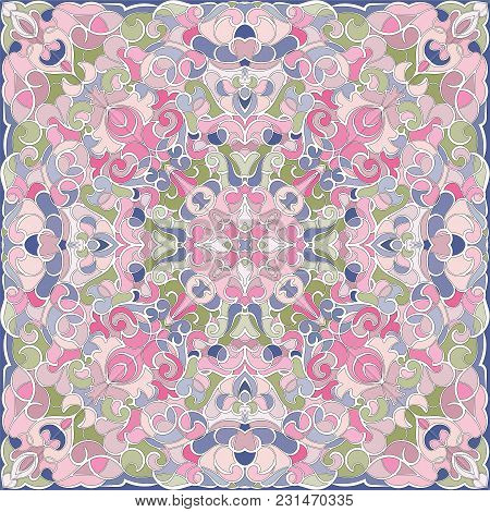 Delicate Color Pattern In Oriental Style. Square Ornament For Shawls, Scarves Or Pillow. Can Be Used