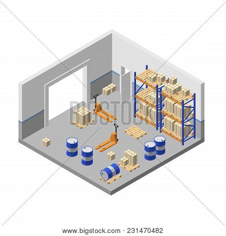 Vector 3d Isometric Storage, Factory Warehouse, Logistic, Delivery Storehouse With Shelves, Boxes, F