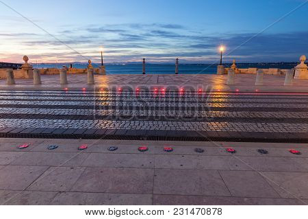 Columns Wharf Viewpoint At Commerce Square At Sunrise, Lisbon, Portugal