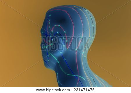 Medical Acupuncture Model Of Human Head On Yellow Background