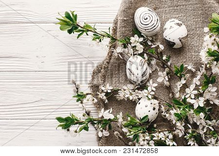 Stylish Easter Flat Lay With Painted Eggs Black And White Colors At Rustic Wooden Background With Sp