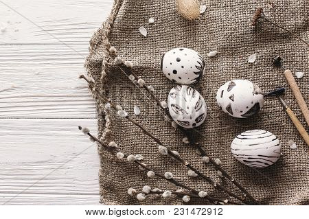 Stylish Easter Flat Lay With Painted Eggs Black And White Colors At Rustic Wooden Background With Wi
