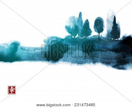 Stylized Ink Wash Painting With Blue Misty Forest Trees. Traditional Oriental Ink Painting Sumi-e, U